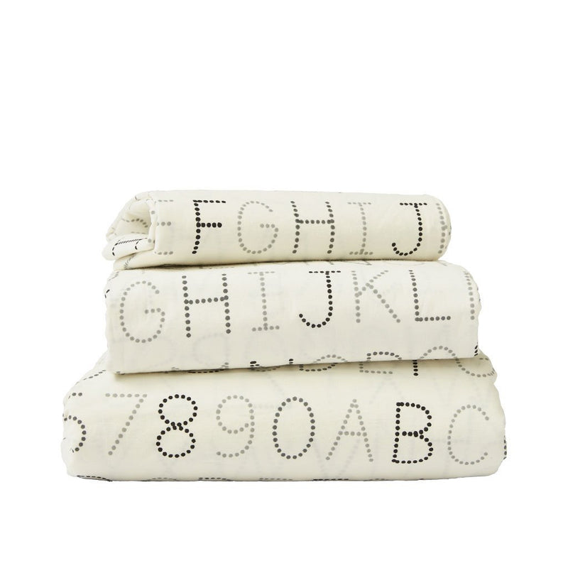Pehr Monochrome Alphabet Sheet Set Bedding | kids at home
