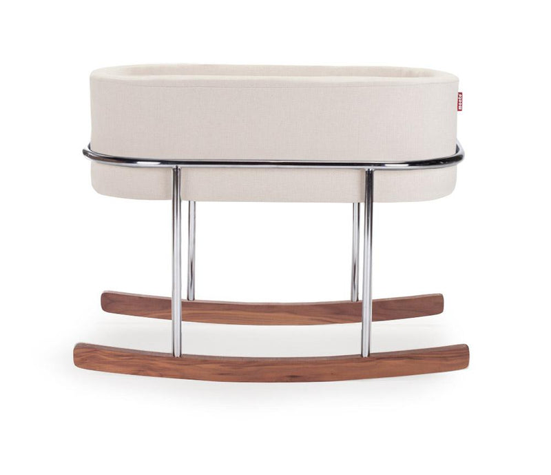 Monte Design | Rockwell Chrome/Walnut Bassinet - Premium Fabric