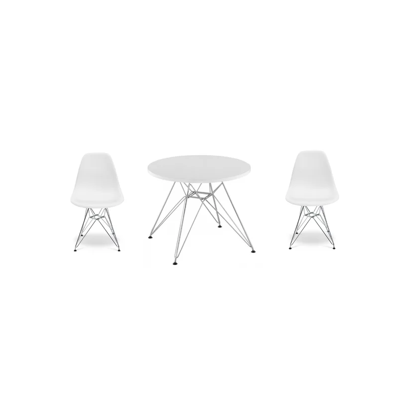 Circular Kids Table with a Set of 2 Chairs - Chrome