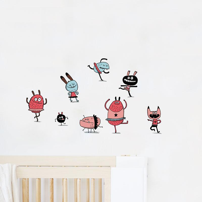 ADzif Elise Gravel Wall Decal - Dancing Monsters | kids at home