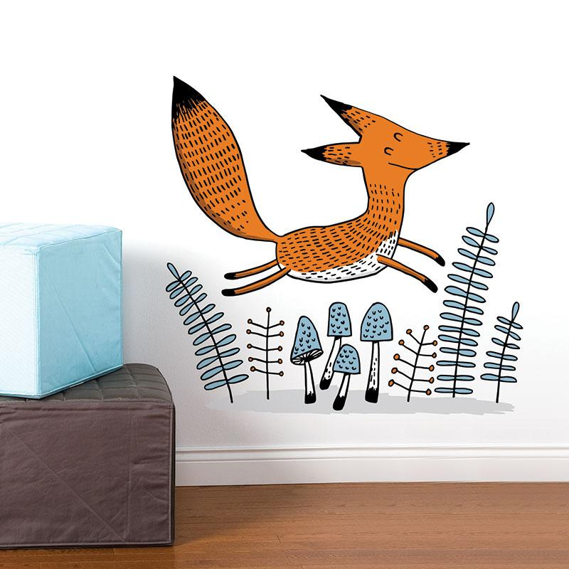 ADzif Elise Gravel Wall Decal - Jumping Fox | kids at home
