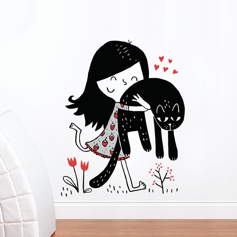 ADzif Elise Gravel Wall Decal - Little Girl & Cat | kids at home