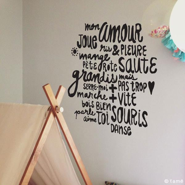 ADzif Wall Decal - Tamé - Mon amour Decal Wall Decal | kids at home