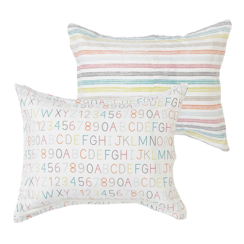 Pehr | Alphabet / Rainbow Stripe Standard Pillow Sham