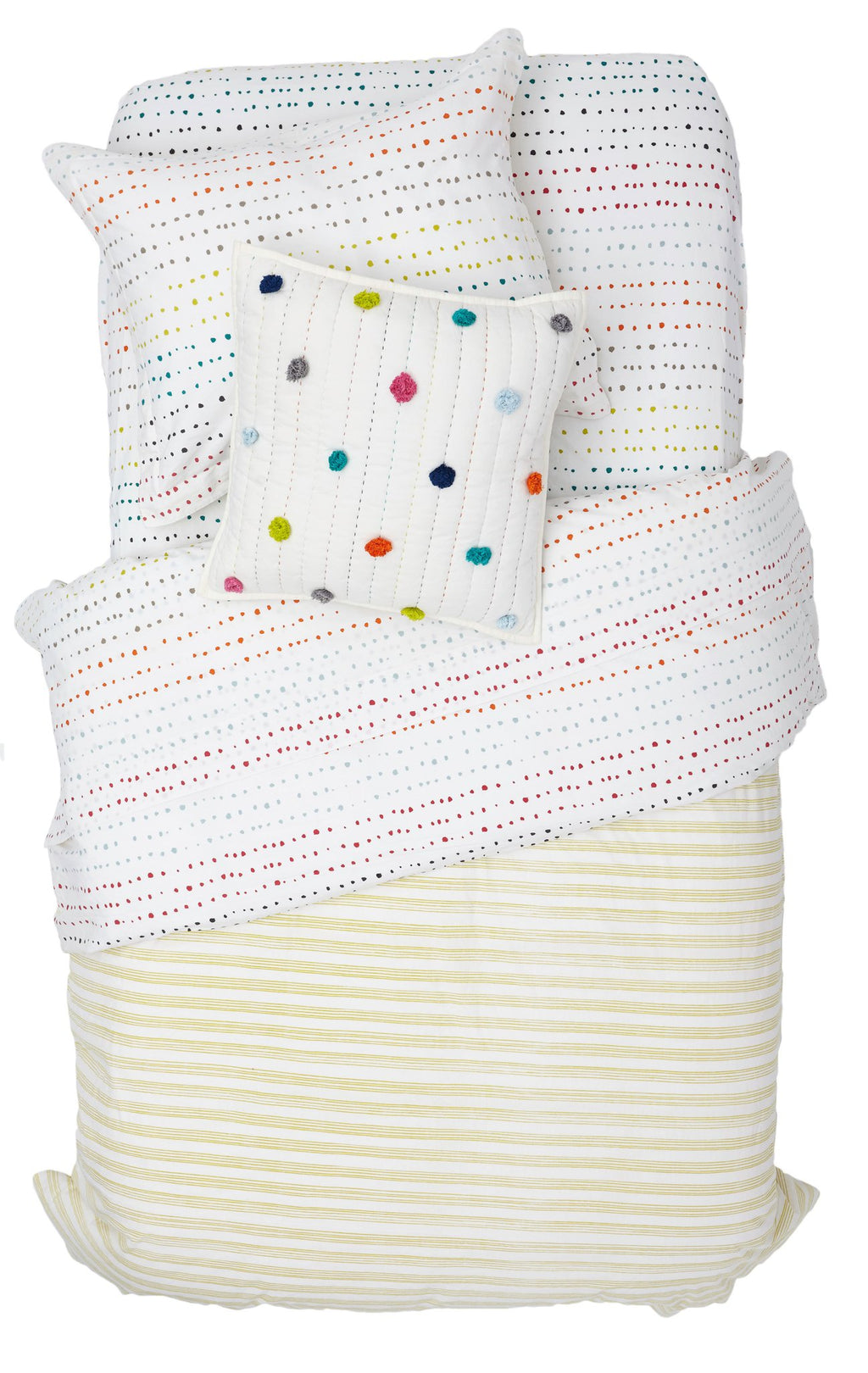 Painted Dots/Citron Stripe Duvet Cover