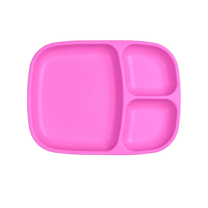 Re-Play Recycled Plastic Divided Tray - Bright Pink Plate | kids at home