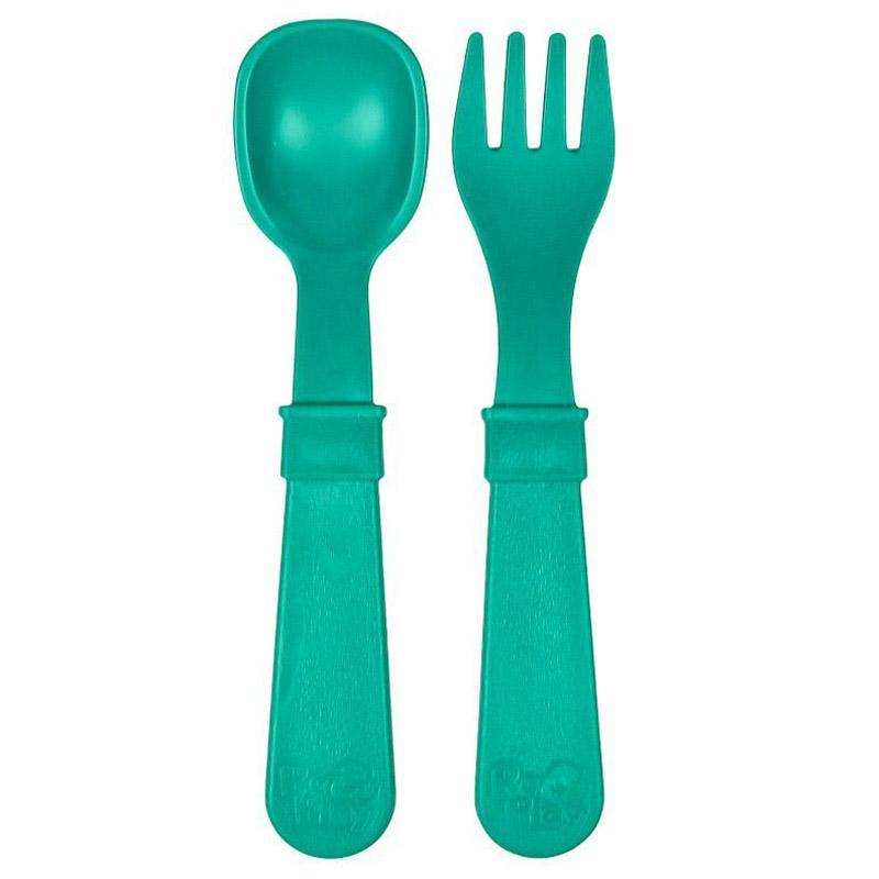 Re-Play Recycled Plastic Utensils - Teal Utensil | kids at home