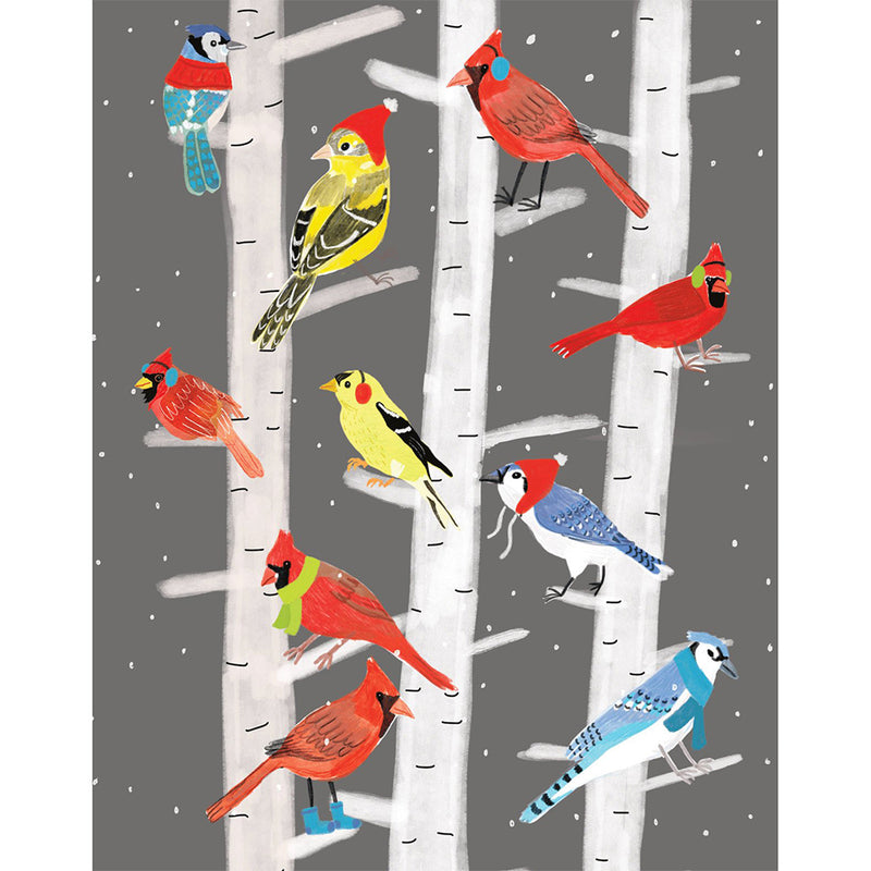 Moon and Sparrow | Christmas Card Birds in Birch Trees