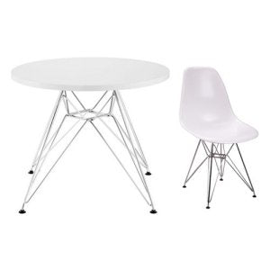 Modern Play Table and Four Chair Set (Chrome)