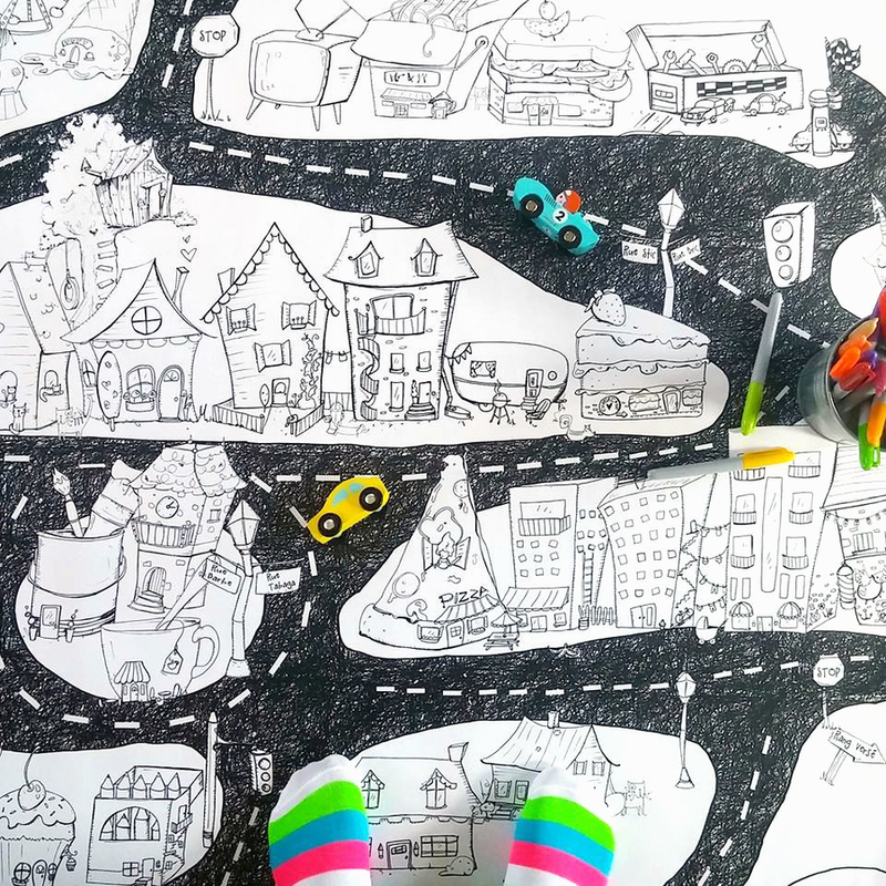 Atelier Rue Tabaga Giant Colouring Poster - City Map Toys | kids at home