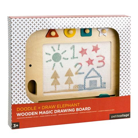 Petit Collage | Doodle + Draw Elephant Wood Magic Drawing Board