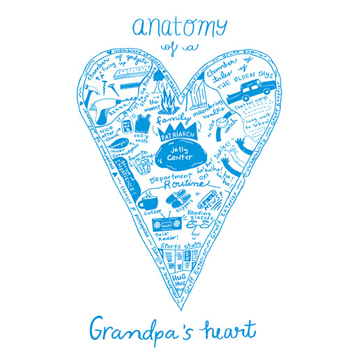 Moon and Sparrow Anatomy of a Grandpa's Heart Print | kids at home