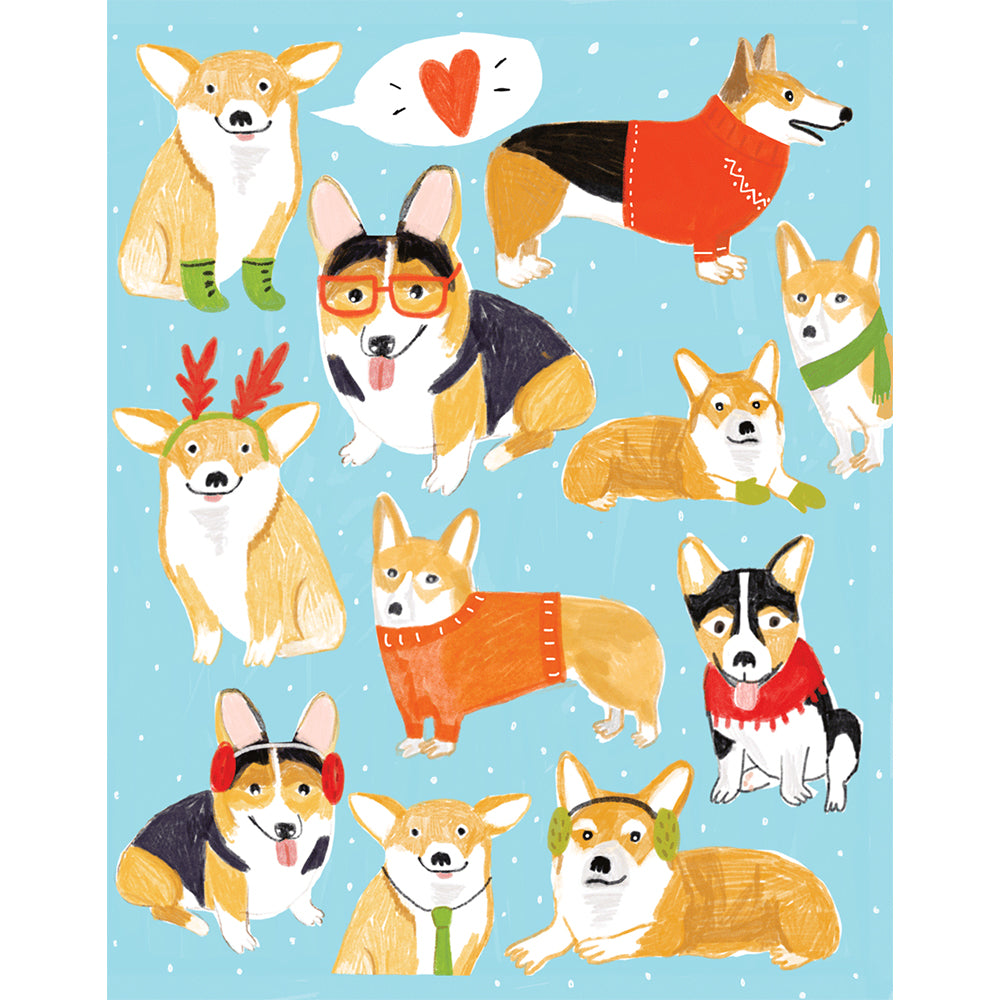 Moon and Sparrow Christmas Card Corgi Dogs Greeting Cards | kids at home