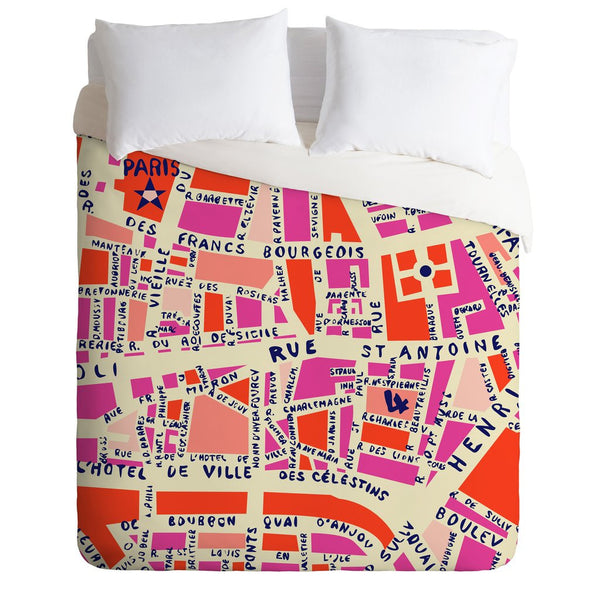 Deny Design Paris Map Pink Duvet Cover