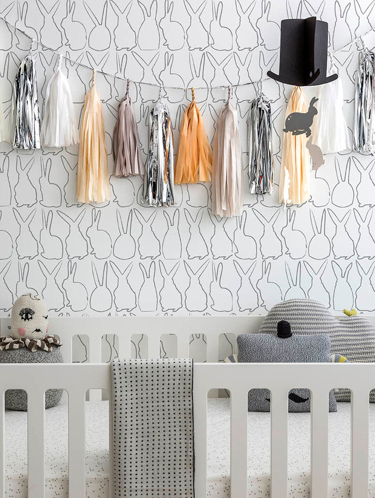 Sissy + Marley - Silver Metallic Hop Wallpaper