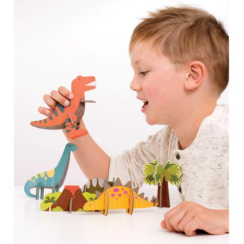 Petit Collage | Pop-out and Build Dinosaur Playset