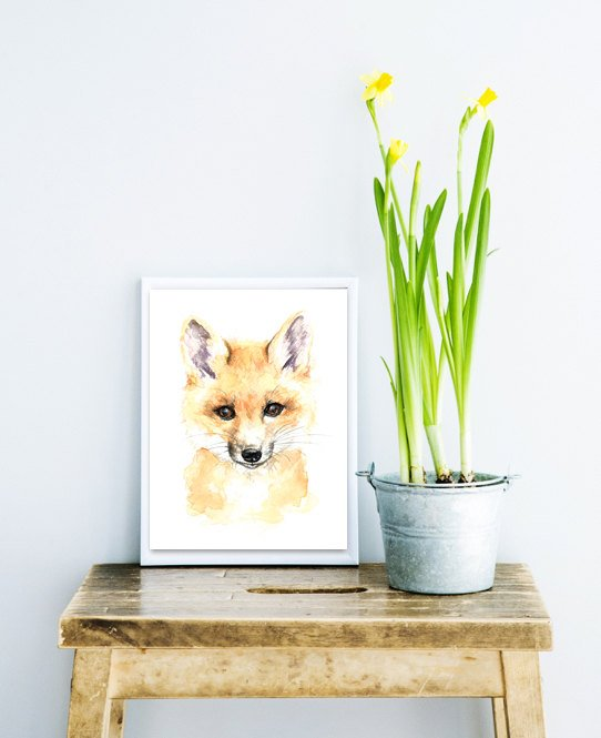 Baby Fox Watercolour Print