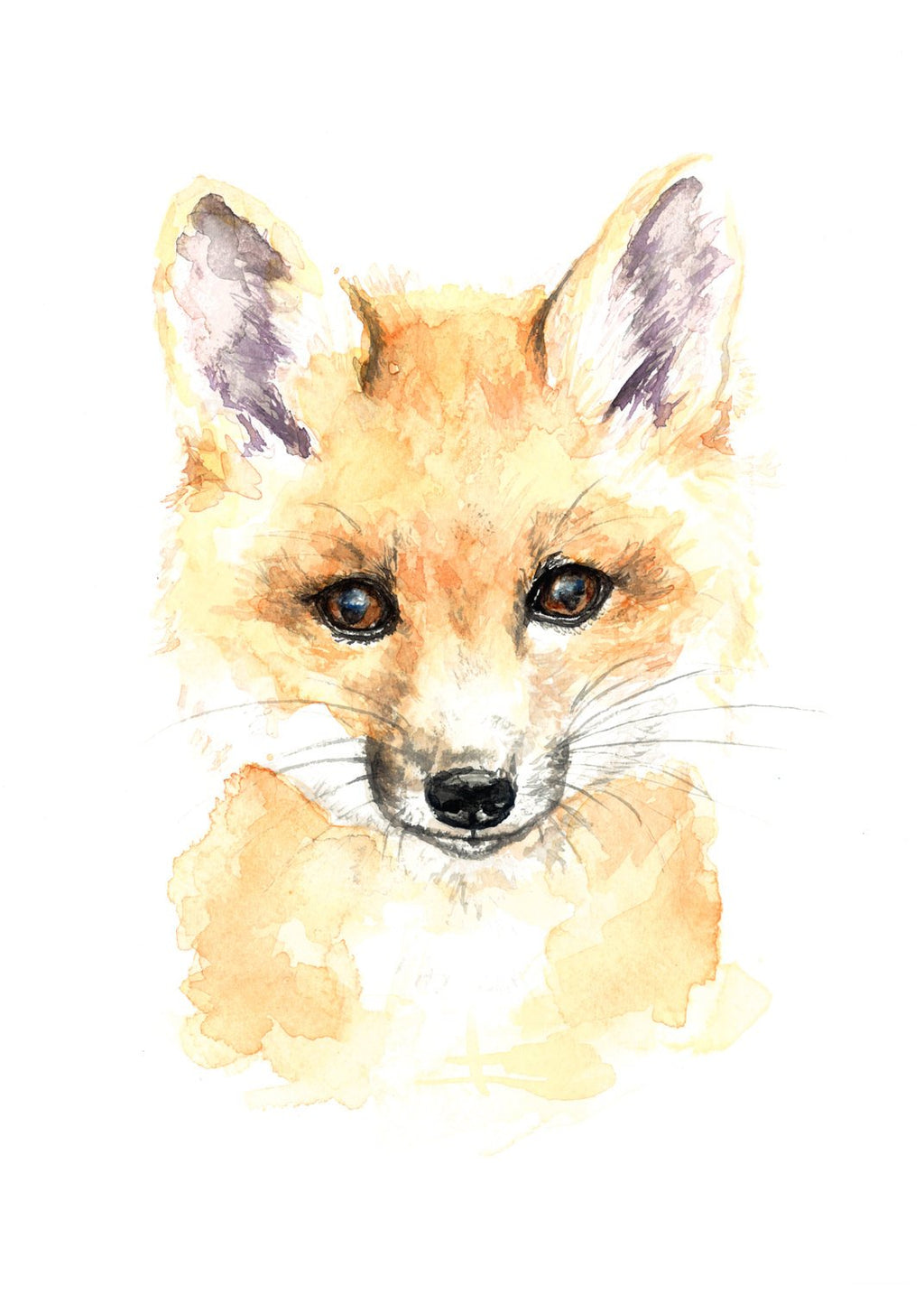 Wild Canary Studio Baby Fox Watercolour Print | kids at home