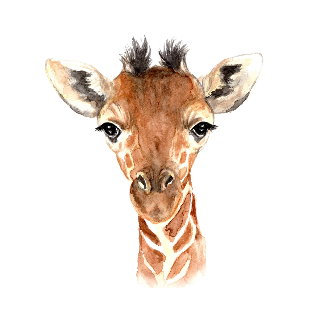 Wild Canary Studio Baby Giraffe Watercolour Print | kids at home