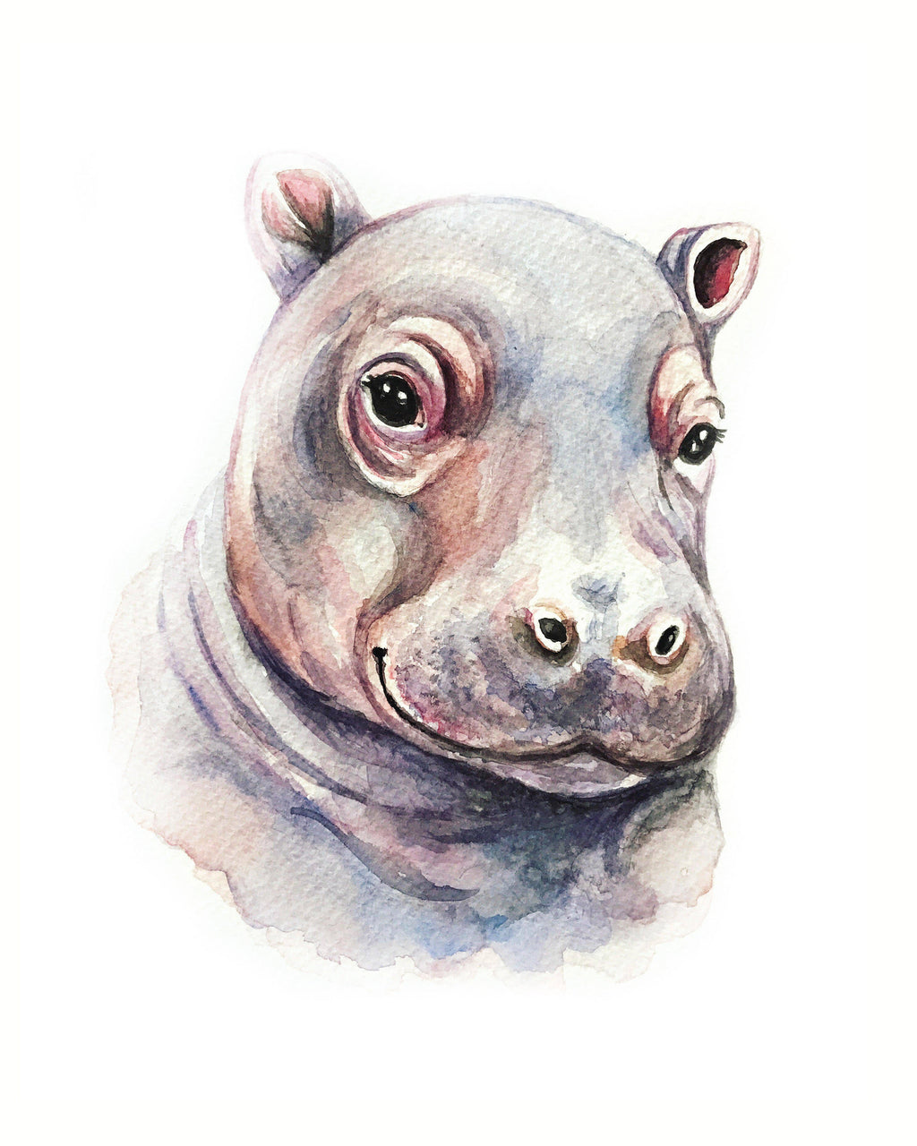 Wild Canary Studio Baby Hippo Watercolour Print | kids at home