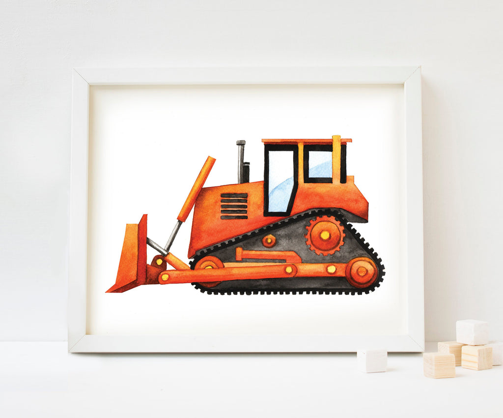 Bulldozer Watercolour Art Print