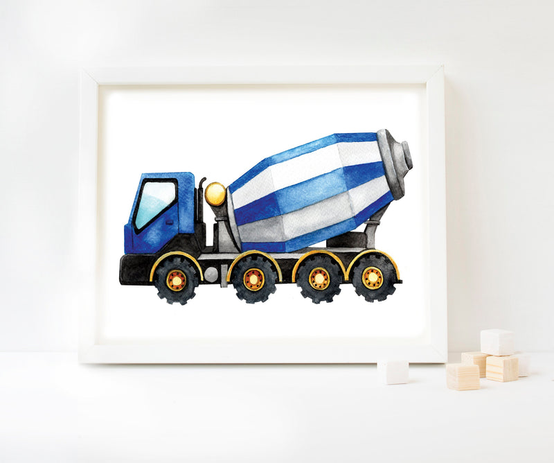 Cement Mixer Watercolour Art Print