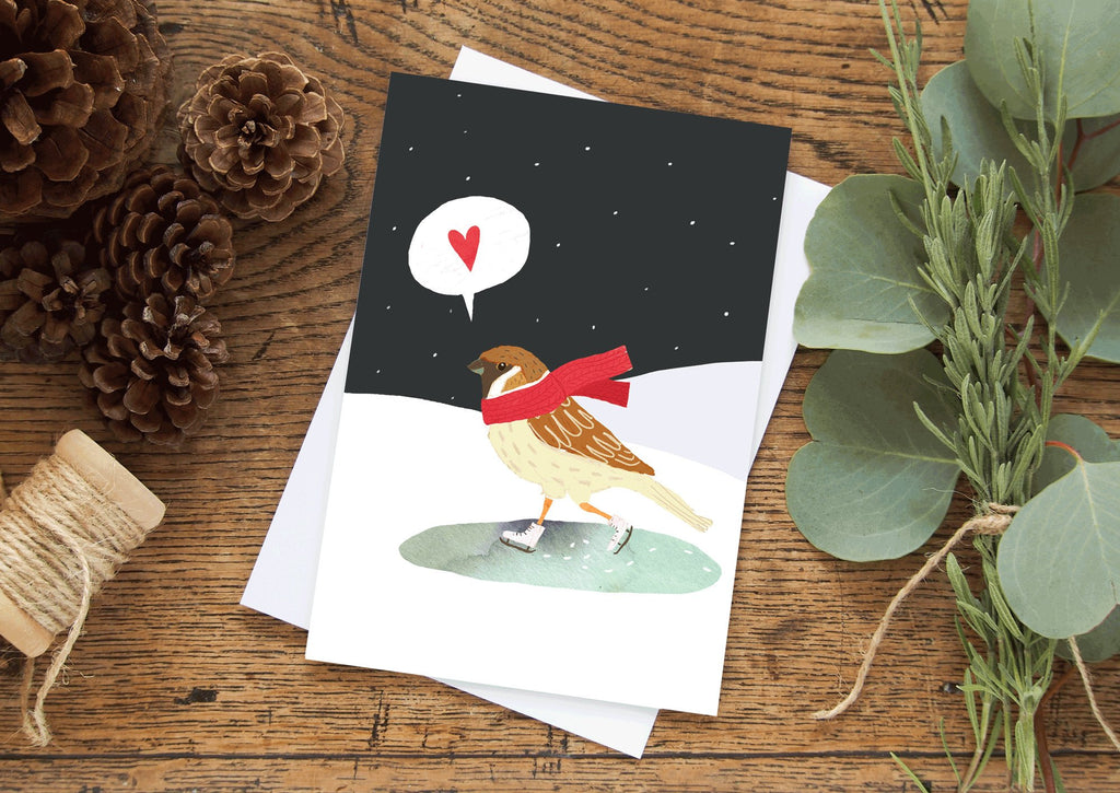 Moon and Sparrow | Christmas Card Skating Sparrow
