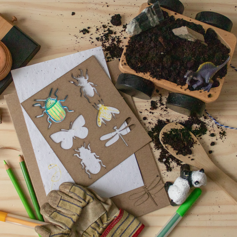 Atelier Rue Tabaga Seed Paper & Insects Stencil Toys | kids at home
