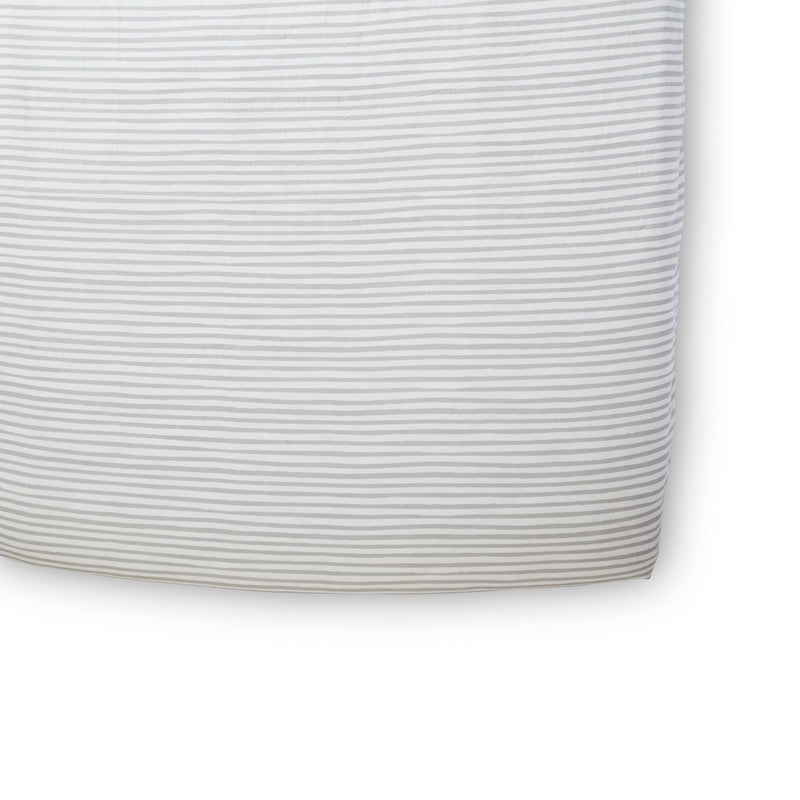 Pehr | Stripes Away Crib Sheet - Pebble