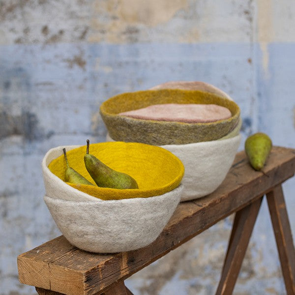 Muskhane | Small Felt Reversible Basket - Natural/Light Stone