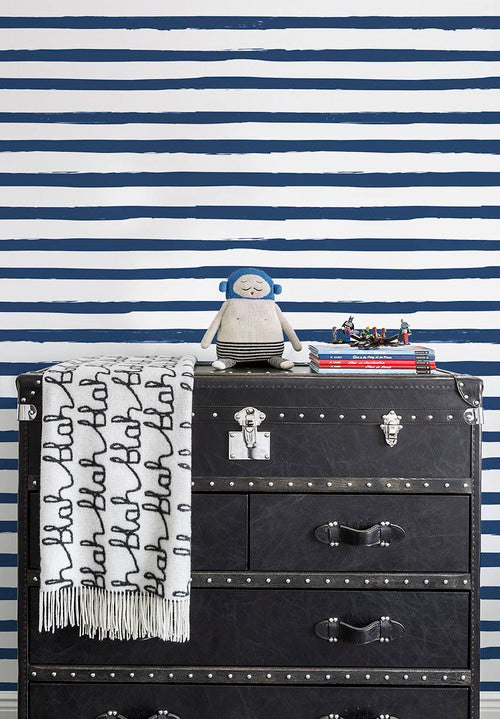 Sissy + Marley - Navy Stripe Wallpaper