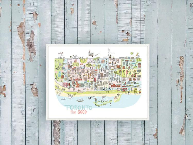 Moon and Sparrow Illustrated Map of Toronto Print | kids at home