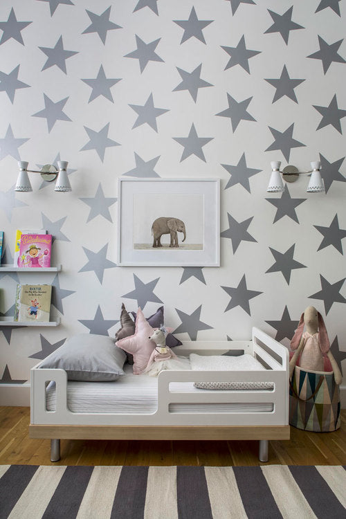 Silver Metallic Lucky Star Wallpaper