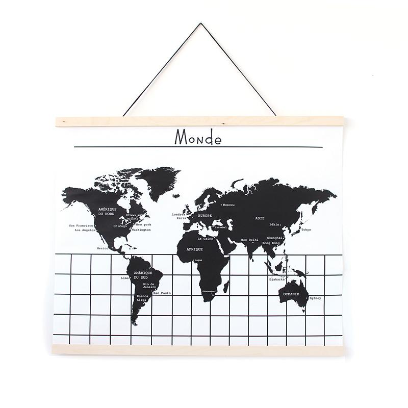 Gautier Studio | Canvas Wall Hanging - World Map (FR)