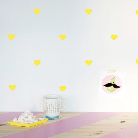 Made of Sundays - Yellow Heart Decals