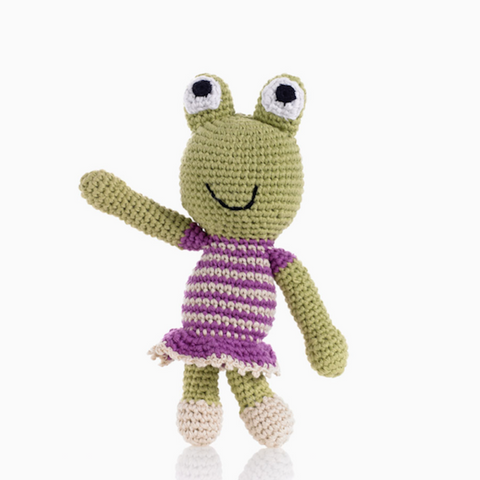 Pebble - Crochet Frog Girl Rattle