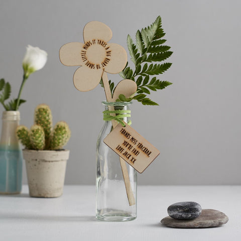 Scamp - Congratulations On Your New Arrival wooden flower and tag