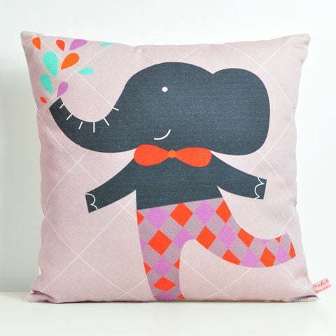 Pink Nounou - Mr Elephant Square Pillow