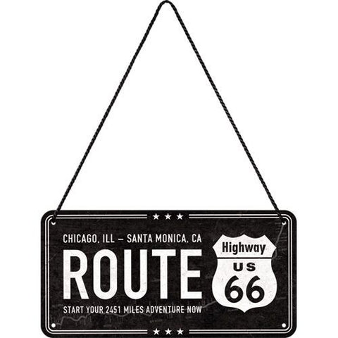 Nostalgic Art - NA Hanging Sign - Highway 66 Black - Studio Thien
