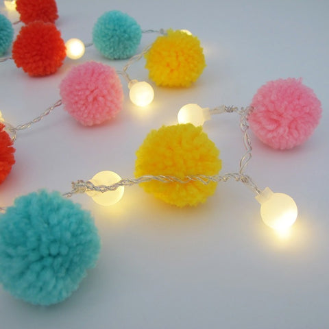 String Light PomPom Multi Color