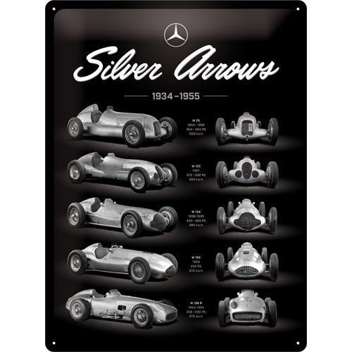 NA Tin Sign 30x40 - Mercedes Silver Arrow Chart