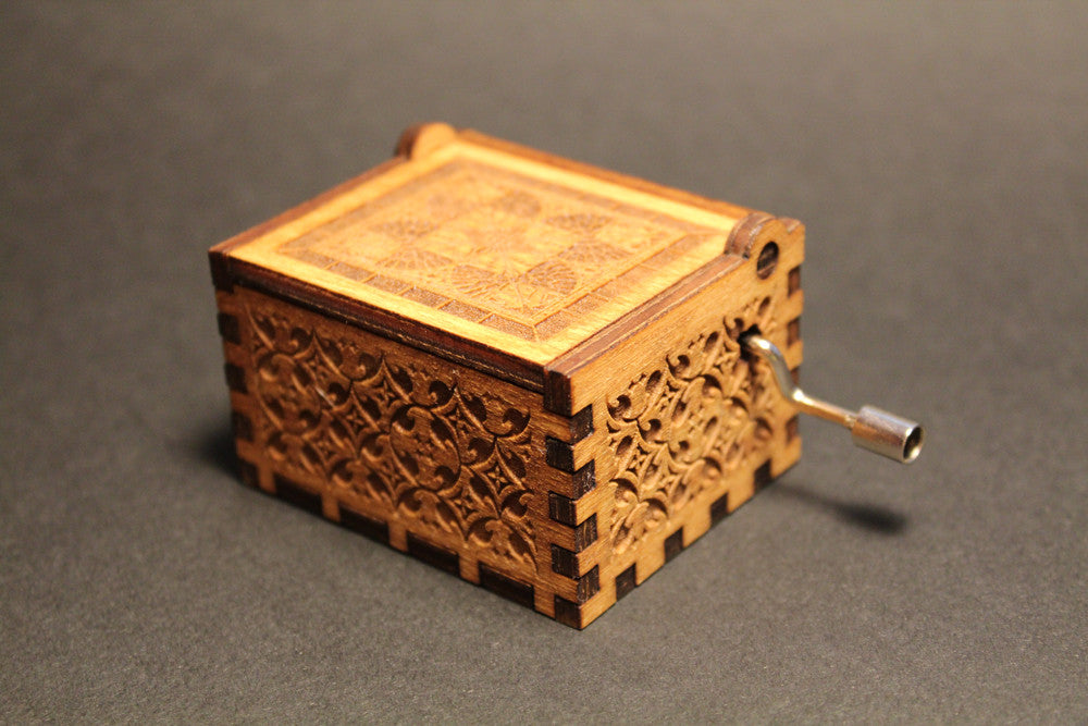 engraved wooden music box harry potter theme � invenio