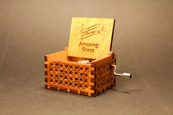 Engraved wooden music box Amazing Grace - Christian Hymn