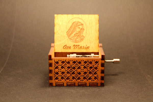 Engraved wooden music box Ave Maria