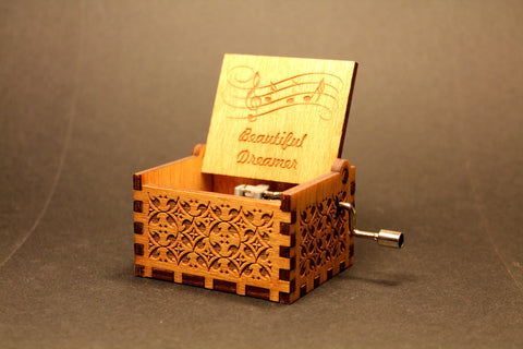 Engraved wooden music box Beautiful Dreamer