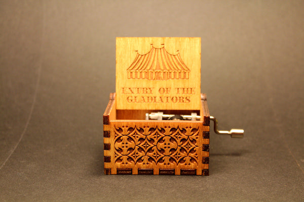 Engraved wooden music box Entry Of The Gladiators