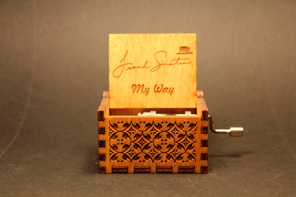 Engraved wooden music box Frank Sinatra My Way