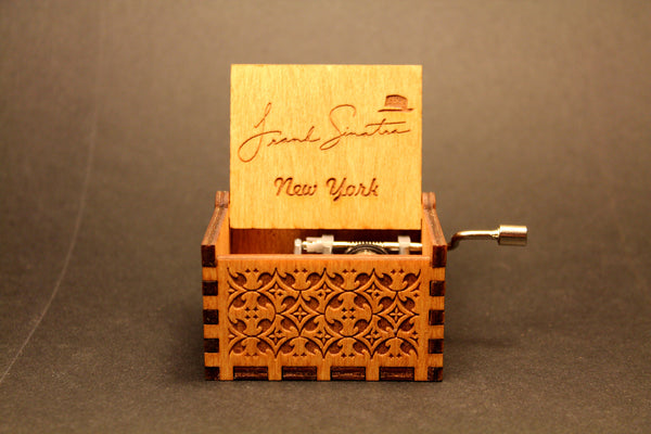 Engraved wooden music box Frank Sinatra New York
