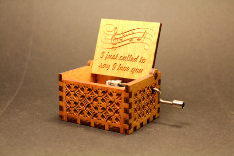 Engraved wooden music box I Just Called To Say I Love You