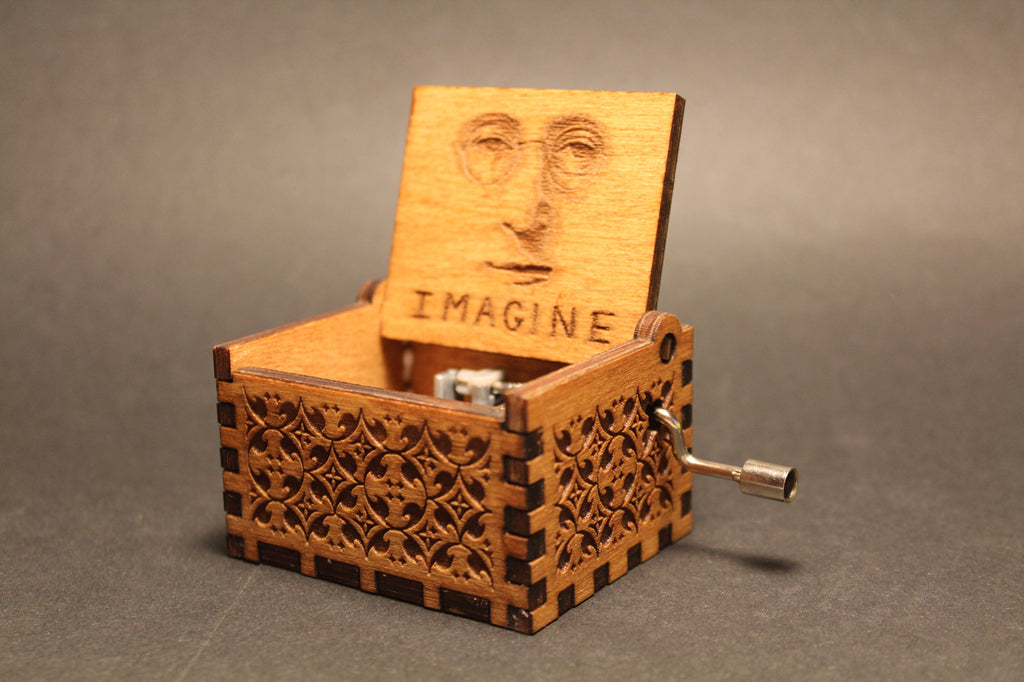 Engraved Wooden Music Box Imagine John Lennon Invenio